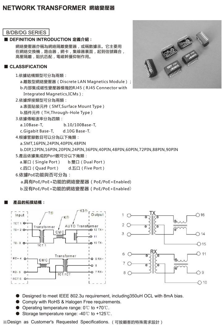 DB DG Series 网络变压器